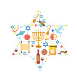 Set icons on the Jewish New Year, Rosh Hashanah, Shana Tova. Rosh Hashanah greeting card. Cartoon icons flat style.  Royalty Free Stock Images