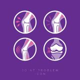 Set of icons. Joints and their treatment.  Flat icons in rounded frames. Set of icons of the joints and their treatment Cartilage damage, arthritis stock illustration