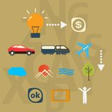 Set icons journey from idea to realization Stock Photos