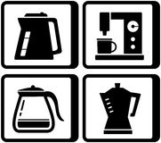 Set icons with kettle and percolator Stock Images