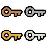 Keys symbols icons signs logos simple bronze, silver, gold, platinum colored set stock illustration