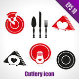 Set icons for kitchen. broken dish, knife. Set icons for kitchen broken dish knife spatula for cake napkins, salt shaker, tray isolated on white background royalty free illustration