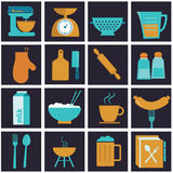 Set of  icons of kitchen equipment, crockery and cook. Stock Photo