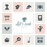 Set of icons on the kitchen theme, kitchen tools, logos, and lettering. vector illustration