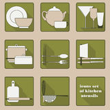 Set of icons of kitchen utensils Royalty Free Stock Photos