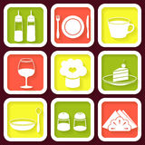Set of 9 icons of kitchen utensils Stock Image