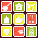 Set of 9 icons of kitchen utensils Stock Images