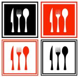 Set icons with kitchen ware. Background collection with knife, fork and spoon Stock Image