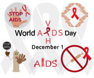 Set of icons and labels for World AIDS Day Royalty Free Stock Image