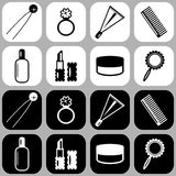 Set of icons with lady's objects. On black and white Royalty Free Stock Photography
