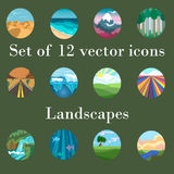Set of  icons landscapes. And travel Royalty Free Stock Photo