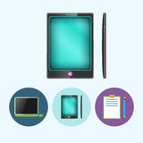 Set icons with  laptop, notebook , phone, gadget, clipboard with a pencil,  vector illustration Royalty Free Stock Photo