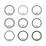 Set icons of laurel wreath and modern frames. Isolated on white stock illustration