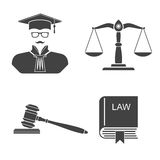 Set icons law and justice. Icons on a white background scales, balance,  gavel, book laws,  judge. Set icons law and justice. Vector illustration. Signs, symbols Royalty Free Stock Image
