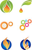 Cogwheels and fire icons Royalty Free Stock Images