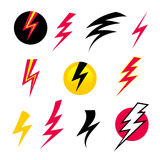 Set Icons Lightning. Vector set icons black Lightning. Set of Thunder Icons. Thunder with lightning. Electricity danger thunder stock illustration