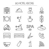 Set of icons of linear hotel service. Isolated.  Royalty Free Stock Images