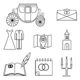 Set of 9 icons in a linear style. On the theme of the wedding. Vector elements for your design Stock Photo