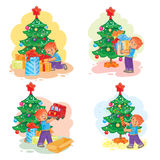 Set of icons little boy opening Christmas presents Royalty Free Stock Photo