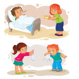 Set icons little boy sick and compassionate girl. Set of clip art illustrations little boy sick and compassionate girl Royalty Free Stock Photos