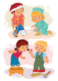 Set icons little boy sick and compassionate girl. Set of vector clip art illustrations little boy sick and compassionate girl Stock Images