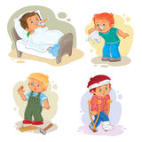 Set icons little boy sick Royalty Free Stock Photo