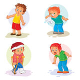 Set icons little boy sick Stock Photography