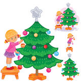 Set of icons little girl opening Christmas presents Royalty Free Stock Photo