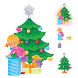 Set of icons little girl opening Christmas presents Stock Image