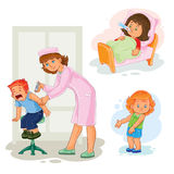 Set icons little girl sick Stock Photography