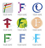 Set of Icons and Logo Elements Letter F Royalty Free Stock Photography