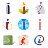 Set of Icons and Logo Elements Letter I. Various Shapes and Colors Stock Photos