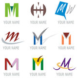 Set of Icons and Logo Elements Letter M Royalty Free Stock Photography