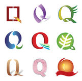 Set of Icons and Logo Elements Letter Q Stock Images
