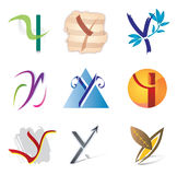 Set of Icons and Logo Elements Letter Y. Various Shapes and Colors Royalty Free Stock Image