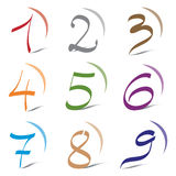 Set of Icons and Logo Elements Numbers Digits 1 to 9. Set of Icons and Logo Elements for Numbers 1 to 9. Decorative Numbers / Digits Stock Photography