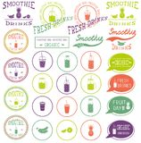 Set of icons, logo, elements, symbols, emblems and labels  - smoothie, coffee to go, frappe, juice, fruits cocktail, lemonade,  ma Stock Photography