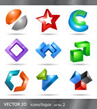Set of icons or logos. Set of 3d icons or logos designs for branding Stock Images