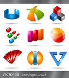 Set of icons or logos. Set of 3d icons or logos designs for branding Royalty Free Stock Photography