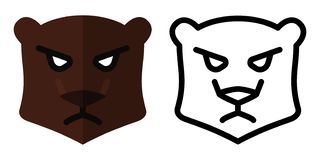 Set of icons - logos in linear and flat style. Bear Head. Vector illustration stock illustration