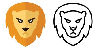 Set of icons - logos in linear and flat style. The head of a lion. Vector illustration stock illustration