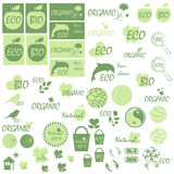 Set of icons and logos on the theme of natural products Stock Images