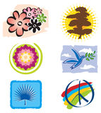 Set of Icons Lotus Flower for Logo Designs. Set of Icons Lotus Flower, Tree and Peace Sign for Logo Designs Royalty Free Stock Image