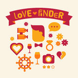 Set of icons love finder. Red and yellow Stock Photos