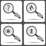 Set icons with a magnifying glass. Detective icon Stock Photography