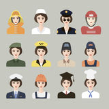 Set of icons of male profession for women. Vector. EPS10. Set of App Flat Icons with Man of Different Professions Stock Photography