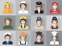 Set of icons of male profession for women. Vector. EPS10. Set of App Flat Icons with Man of Different Professions Royalty Free Stock Image