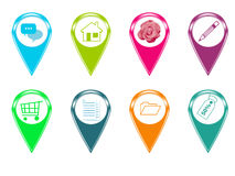 Set of icons for maps Stock Photo