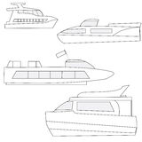 Set of icons marine yachts. Pleasure craft, tourist and passenger Stock Photos