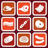 Set of 9 icons with meat pieces Royalty Free Stock Images